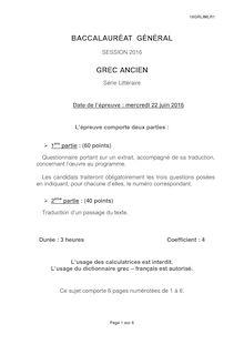Baccalauréat Grec ancien 2016 - Série L