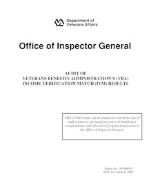AUDIT OF VETERANS BENEFITS ADMINISTRATION