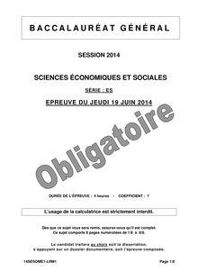 Sujet bac 2014 - Série ES - Sciences économiques et sociales (obligatoire)