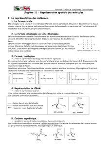 Cours sur la représentation spatiale des molécules - Terminal S physique-chimie