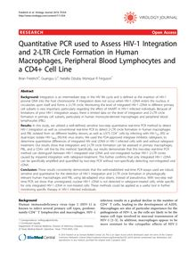 Quantitative PCR used to Assess HIV-1 Integration and 2-LTR Circle Formation in Human Macrophages, Peripheral Blood Lymphocytes and a CD4+ Cell Line