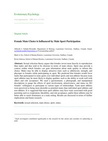 Female mate choice is influenced by male sport participation
