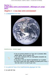 Cours de sciences physiques 5e - Chapitre 1 : L'eau dans notre environnement