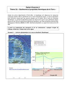 Exercice Géothermie et propriétés thermiques de la Terre