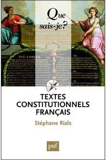 Textes constitutionnels français de Stéphane Rials - fiche descriptive
