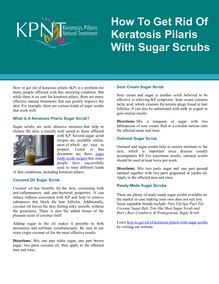 How To Get Rid Of Keratosis Pilaris With Sugar Scrubs