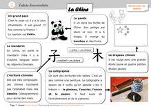 Pluridisciplinaire – Lectures documentaires CP/CE1 - Anne Claire la chine texte doc orpheecole