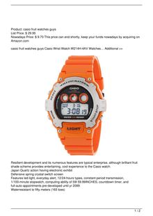 Casio Men8217s W214H4AVCF Chronograph Orange Watch Watch Review