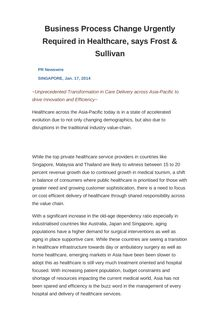 Business Process Change Urgently Required in Healthcare, says Frost & Sullivan