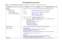 Programme anglais CM1