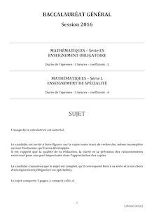 Baccalauréat Mathématiques 2016 - Série ES (obligatoire), série L (spécialité)