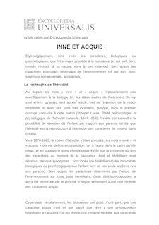 Définition de : INNÉ ET ACQUIS - André PICHOT