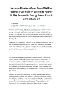 Nexterra Receives Order From MWH for Biomass Gasification System to Anchor 10 MW Renewable Energy Power Plant in Birmingham, UK