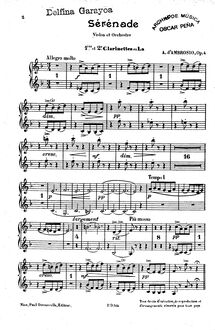 Partition clarinette 1, 2 (A), Sérénade pour Violon, Op.4, Serenade for Violin and Orchestra