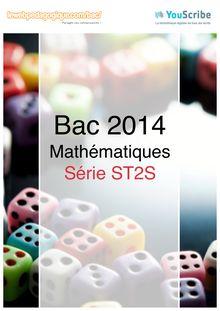 Corrigé bac 2014 - Série ST2S - Maths