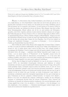 Conférence sur Les mains libres, Man Ray, Paul Eluard