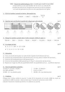 CM2 – Devoir de mathématiques