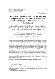 "Enhanced individual selection for selecting fast growing fish: the ""PROSPER"" method, with application on brown trout (Salmo trutta fario)"