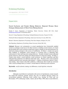 Social exclusion and female mating behavior: Rejected women show strategic enhancement of short-term mating interest