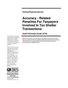 Accuracy - Related Penalties For Taxpayers Involved In Tax Shelter Transactions Audit Technique Guide