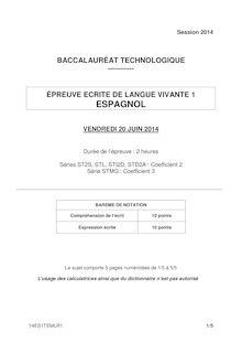 Sujet bac 2014 - Séries techno - LV1 espagnol