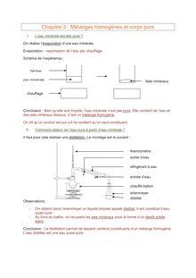 Cours Physique-chimie 5e : Mélanges homogènes et corps purs