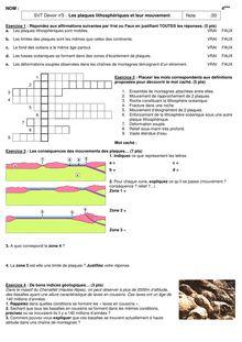 Devoir de SVT 4e - Les plaques lithosphériques et leur mouvement
