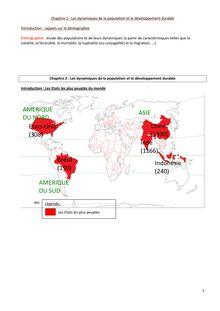 Exercice corrigé sur les dynamiques de la population et le développement durable - géographie cours 5e