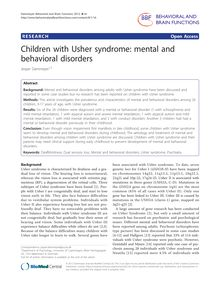 Children with Usher syndrome: mental and behavioral disorders