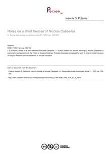 Notes on a short treatise of Nicolas Cabasilas - article ; n°1 ; vol.51, pg 155-160