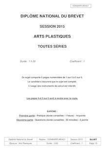 Brevet 2015: sujet de l'épreuve d'arts plastiques