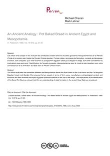 An Ancient Analogy : Pot Baked Bread in Ancient Egypt and Mesopotamia. - article ; n°2 ; vol.16, pg 21-35