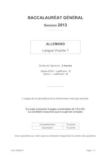 Bac 2013 General Allemand LV1