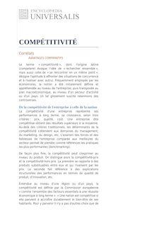 Définition de : La notion de compétitivité - MUCCHIELLI Jean-Louis