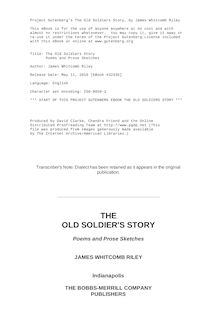 The Old Soldiers Story - Poems and Prose Sketches