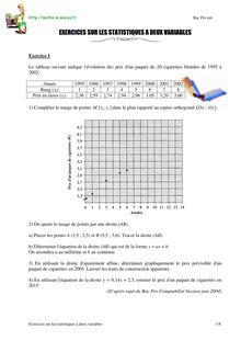 Exercices sur les statistiques deux variables - Annales du ...