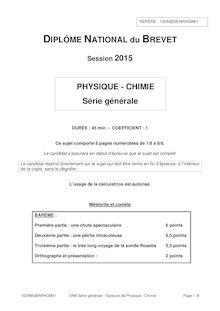 Brevet 2015: sujet Physique Chimie série générale !