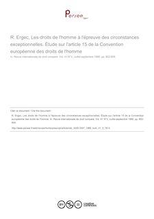 R. Ergec, Les droits de l
