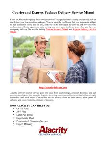 Courier and Express Package Delivery Service Miami