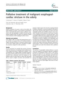 Palliative treatment of malignant esophageal-cardiac stricture in the ederly