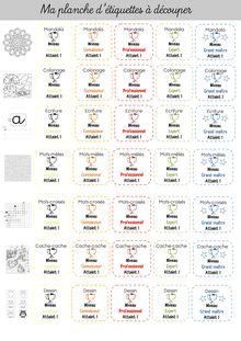 Outils pour la classe – Blasons d'autonomie - Les étiquettes blasons Blasons Etiquettes à découper