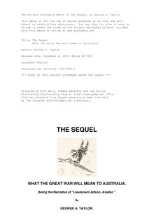 The Sequel - What the Great War will mean to Australia