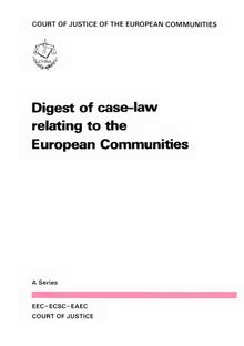 Digest of case-law relating to the European Communities