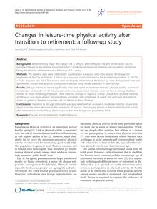 Changes in leisure-time physical activity after transition to retirement: a follow-up study