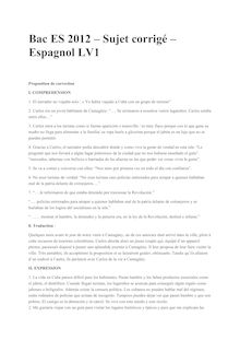 Bac 2012 S ES Espagnol LV1 Corrige