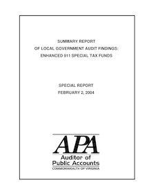 Special ReportSummary Report of Local Government Audit Findings Enhanced 911 Special Tax Funds(Report