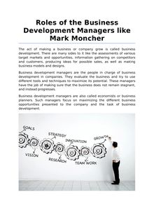 Roles of the Business Development Managers like Mark Moncher