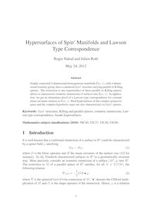 Hypersurfaces of Spinc Manifolds and Lawson Type Correspondence
