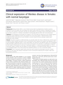 Clinical expression of Menkes disease in females with normal karyotype
