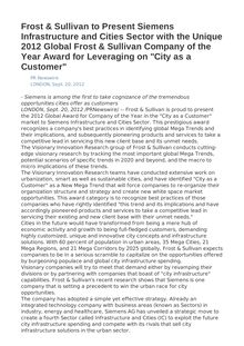"Frost & Sullivan to Present Siemens Infrastructure and Cities Sector with the Unique 2012 Global Frost & Sullivan Company of the Year Award for Leveraging on ""City as a Customer"""